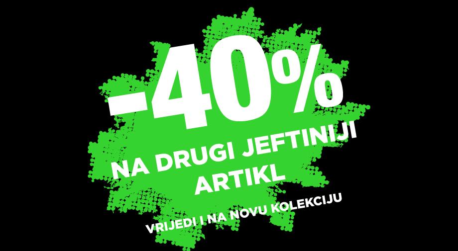 -40% na drugi jeftiniji artikl - PRODUŽENA do 31.3.