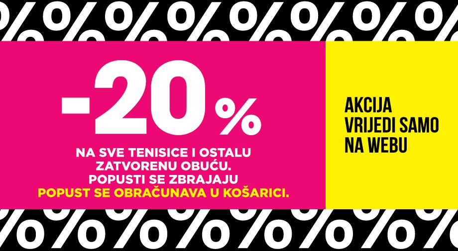 SAMO NA WEBU: -20% na SVE TENISICE i OSTALU ZATVORENU OBUĆU, bez iznimke
