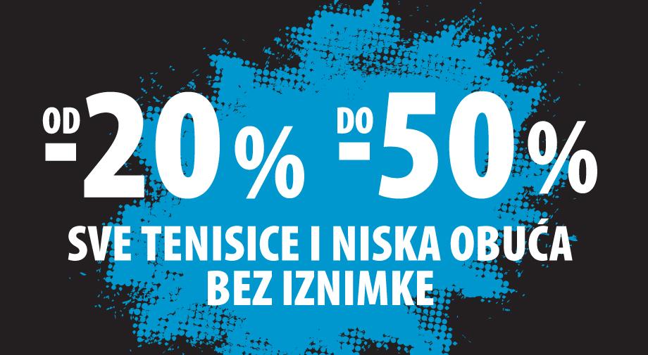 Od najmanje 20% do 50% na sve tenisice i nisku obuću!
